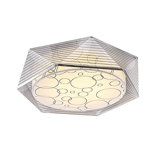Moderne Pastorale Stijl Slaapkamer Plafond Licht Eenvoudige Woonkamer Creatieve Ronde Kinderen Kamer Lamp Dubbele Lampenkap Onregelmatige Frame Strepen Versier Vintage Plafond Verlichting