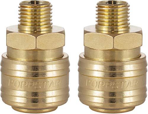 Poppstar 2x Schnellkupplung Druckluft NW 7,2 mit 1/4 Zoll Außengewinde für Druckluft-Anschluss