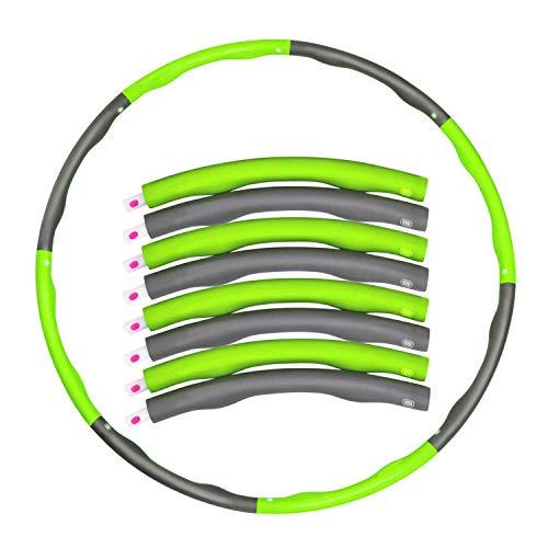 Libertepe Reifen Hula Hoop für Kinder und Erwachsener, 1 Kg Level 1 gewichteter Reifen, 8 Abschnitten Verstellbar Milde Massage Gegen Blaue Flecken (One size, Grün)