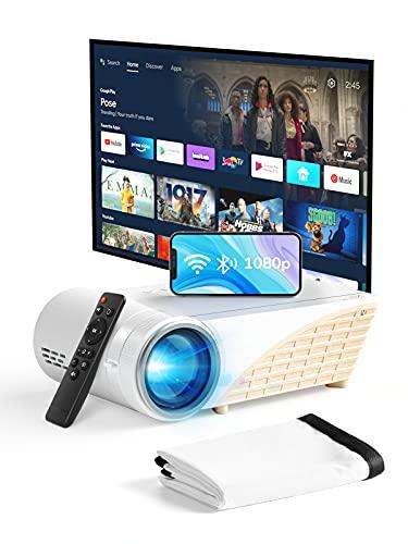 """YEHUA Mini proyector con WiFi y Bluetooth, proyector portátil 4K HD 1080P y pantalla de 200"""", proyector LED de cine al aire libre con pantalla y control remoto, compatible con iOS, Android, HDMI, VGA, AV, 2 interfaz USB"""