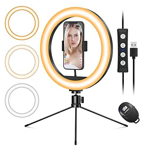Ringlicht mit Stativ Handy, 10.2' LED Selfie Ringleuchte mit Handyhalter, Tischringlicht mit...