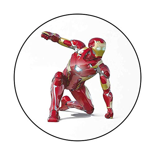 Chromatic Collection Round Rug Superhero, Robot Transformer Hero with Superpower in Costume Cyber Man Fun Character Print, White Maroon for Bedroom Baby Room Decor Carpet Diameter 72 in(183cm)
