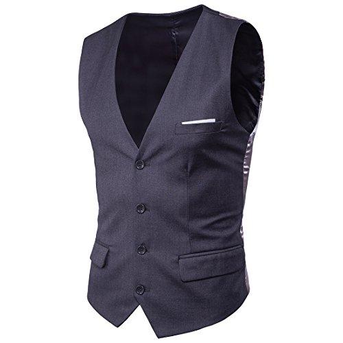 Mxssi Suit Vest New Patchwork Formale Uomo Dress Suit Vest Plus Size Moda Slim Fit Uomo Matrimonio Gilet Grigio Scuro 2XL