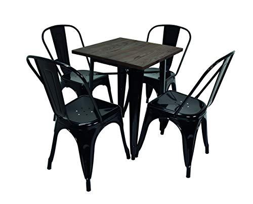 La Silla Española Conjunto Mesa y sillas Tolix, Madera, Negro, 60x60cm
