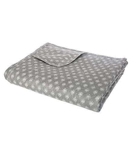ATMOSPHERA - Dessus de lit imprimé 240x260 + 2 taies grises - Grau