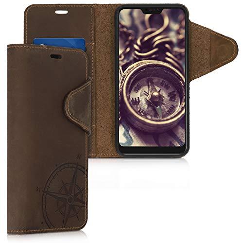 kalibri Wallet Hülle kompatibel mit Xiaomi Redmi 6 Pro/Mi A2 Lite - Hülle Leder - Handy Cover Handyhülle Kompass Vintage Braun