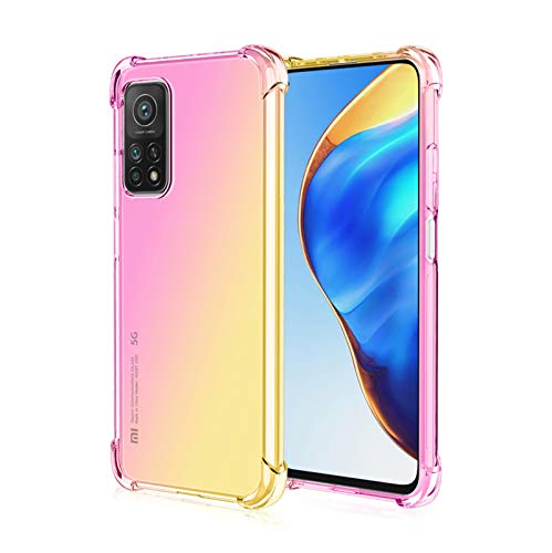 GOGME para Xiaomi Mi 10T / 10T Pro Funda, Funda Gradiente Transparente TPU, Carcasa Cristal Ultra Slim Flexible Suave Silicona TPU Bumper, Reforzar la Cuatro Esquinas Case Cover (Pink/Oro)
