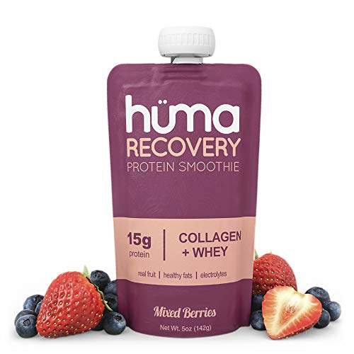 Huma Recovery Protein Smoothie, 6 Pouches – 15g Collagen + Whey Post Workout Recovery Drink – Ready-to-Drink Protein Shake with Real Fruit, Electrolytes, Healthy Fats