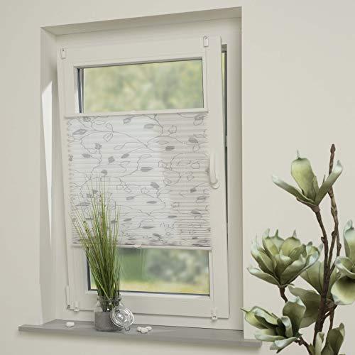 DECOLIA Klemmfix-Plissee verspannt, ohne Bohren oder Schrauben mit Druckdesign Ranke, Breite/Höhe: 50 x 130 cm, Farbe: weiß/grau
