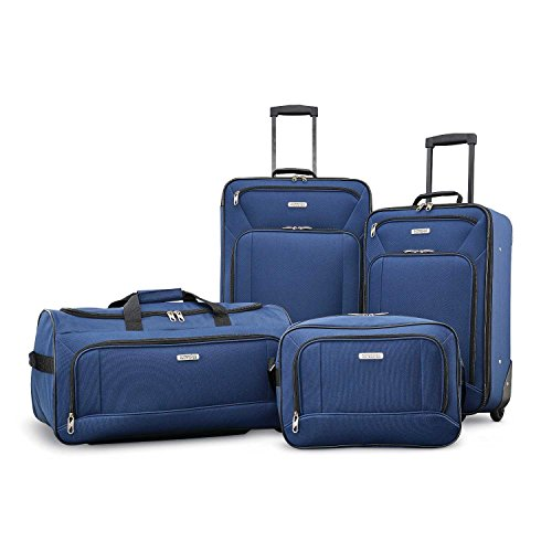 American Tourister Fieldbrook XLT Softside Upright Luggage, Navy, 4-Piece Set (BB/DF/21/25)