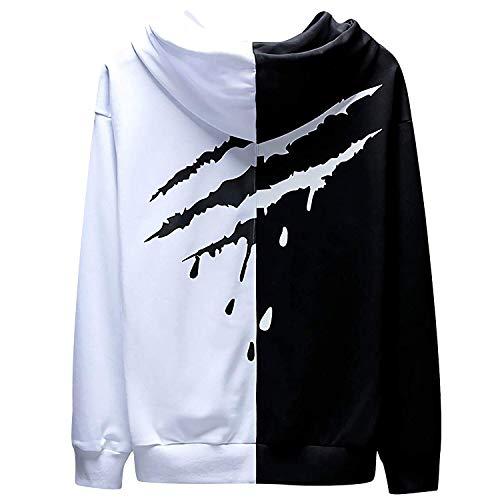XIAOYAO Herren Basic Kapuzenpullover Sweatjacke Pullover Hoodie Sweatshirt (L(Höhe:170-175CM-Gewicht:55-63KG), Weiß schwarz 2)