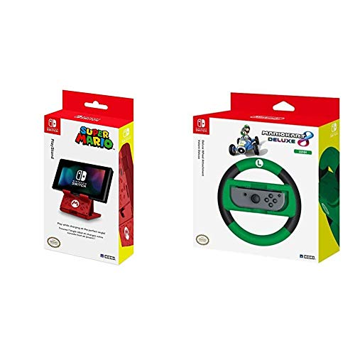 Mario Playstand Standard [Nintendo Switch] & NSW-055U Nintendo Switch Mario Kart 8 Deluxe Lenkrad (Luigi Version)