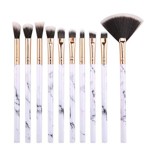 Ensemble de pinceaux de Maquillage, 10Pcs Brosse de Maquillage cosmétique avec Pinceau de Maquillage en Cuir PU Blanc Fard à paupières Visage Eyeliner Blush Contour Foundation Make Up Brushes