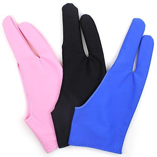 SENHAI Artiest Handschoen voor Grafische Tablet 3 Kleur Gratis Size Handschoenen voor Tekenen- Blauw, Roze, Zwart