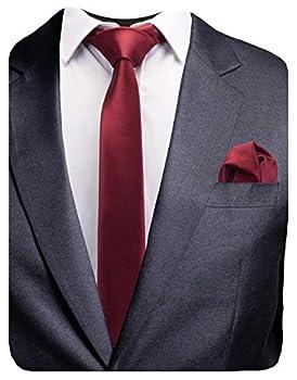 GUSLESON 2.4  Slim Necktie and Handkerchief Set For Men Solid Skinny Tie  0754-11
