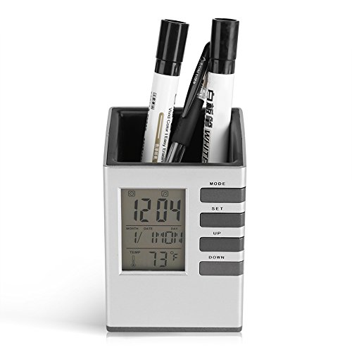 Fdit Multifunktionale LED Tischuhr Standuhr Wecker Digital LCD Bleistiftbehälter Bildschirm Wecker Stifthalter Temperaturanzeige für Haus Büro