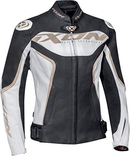 Ixon Trinity Damen Motorrad Lederjacke Schwarz/Weiß/Gold S