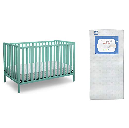 Delta Children Heartland 4-in-1 Convertible Crib, Aqua + Delta Children Twinkle Galaxy Dual Sided Recycled Fiber Core Crib and Toddler Mattress (Bundle)