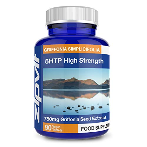 5HTP High Strength 750mg Natural Griffonia Seed Extract, 90 5-HTP Tablets. Suitable for Vegetarians and Vegans.