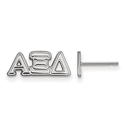 Solid 925 Sterling Silver Official Alpha Xi Delta Extra Small Tiny Post Studs Earrings 7' (Width = 16mm)