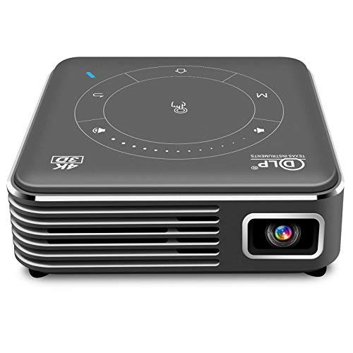 LWZ Mini Proyector DLP, Proyector Portátil De Bolsillo WiFi, Corrección Trapezoidal Electrónica De ± 40 °, Control del Panel Táctil, Batería Incorporada, con Trípode