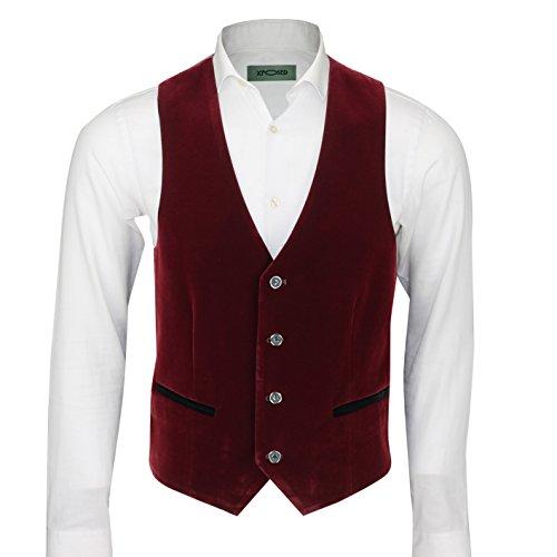 Xposed completo da uomo in velluto, stile vintage, 3 pezzi (giacca, pantaloni e gilet) venduti separatamente, granata Rosso Waistcoat-PWC-Maroon