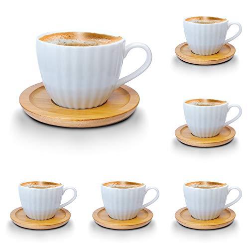 Espressotassen-Set weiss Porzellan Tassen Teeservice Kaffeeservice mit Bambus Untertassen 12-Teilig (Espressotassen 100ml, Mod1)