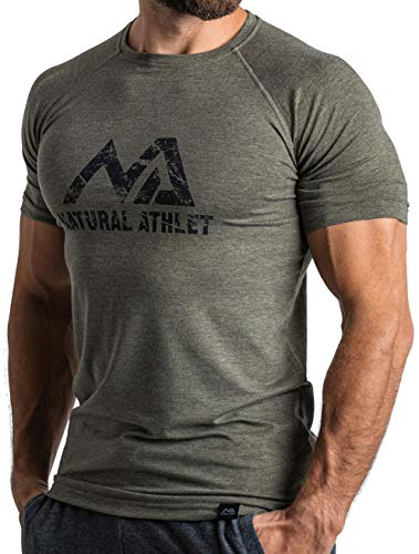 Natural Athlet Herren Fitness T-Shirt meliert - Männer Kurzarm Shirt für Gym & Training - Passform Slim-Fit, lang mit Rundhals, M, Olive