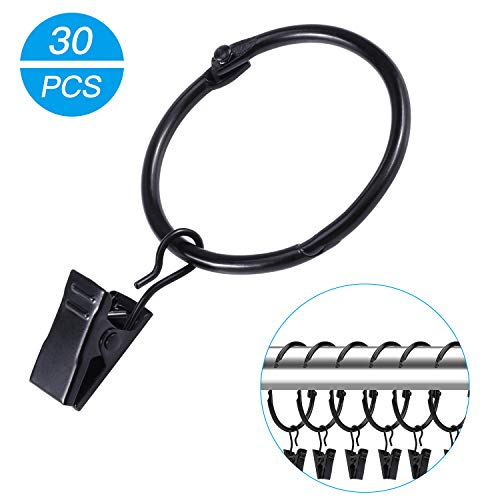 OOTSR 30 Stück Vorhangring mit Clips, Metall Vorhangringe Hängende Ringe für Vorhänge und Stäbe öffnen und Schließen-38mm Innendurchmesser(Schwarz)