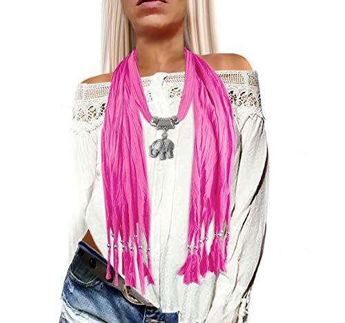 if she Damen Ketten-Schmuck-Schal in verschieden Farben mit Elefanten Anhänger austauschbar Geschenkidee, Farbe:Pink