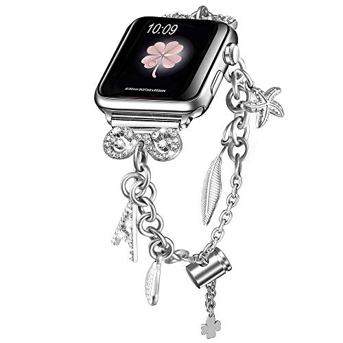 Secbolt Bling Bands Compatible with Apple Watch Bands 38mm 40mm iWatch SE Series 6/5/4/3/2/1, Women's Interchangeable Charms Adjustable Bracelet in Stainless Steel, Silver