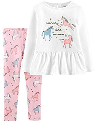 Carter's Toddler Sparkly Like Mommy 2-Piece Leggings Set Outfit - White/Multi,