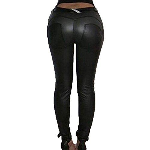juqilu Frauen Leggings Hose Sexy Hüfthosen - Damen Hosen Kunstleder Leder Treggins Leggins Smooth Strumpfhose Hüfthoch Hose Schwarz XL