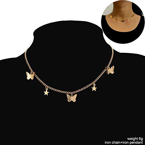 ASDFG Shine Jewelry Party Gift Collares con Colgante de Mariposa vívida Linda para Mujeres y niñas Collar de Cadena de Color Dorado