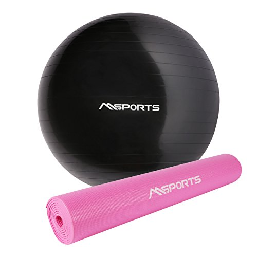 MSPORTS Yogamatte Pastellrosa + Gymnastikball 65-85 cm | Gymnastikmatte (Gymnastikball 65 cm + Matte)