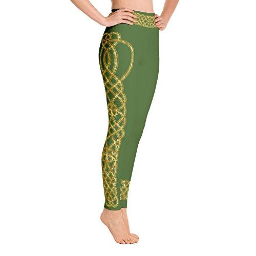 Irish Yoga Leggings, Saint Patrick's Day, Irish Step Dance, Dark Green with Gold Celtic Knot,