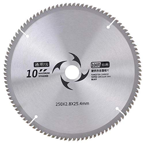 Discos para cortador de madera Discos de corte circulares Hoja de sierra circular Hoja de corte de sierra 250 x 2,4 x 25,4 mm 9,8 x 0,09 x 1 pulg.(100T)
