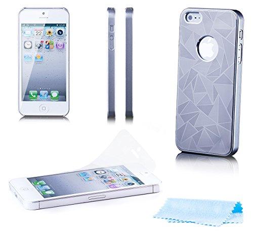 iCues Apple iPhone SE / 5S / 5 Caja de Aluminio de Delta de Plata | [Protector de Pantalla Incluido] Piel CNC Metal de Aluminio metálico de protección Protección Cubi Funda Carcasa Bolsa Cover Case