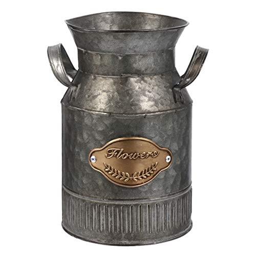 UPKOCH Jarrón de hierro vintage, para la leche, de estilo rústico, decorativo, para jardín, salón o mesa