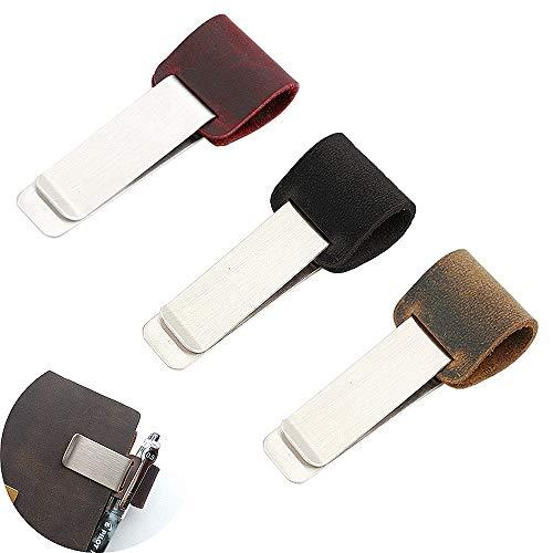 Jurxy 3 PC Pen Loop per Notebook Retro in pelle Giornale dei viaggiatori Portamatite Segnalibro con clip metallica in acciaio inossidabile - Nero Marrone Rosso scuro
