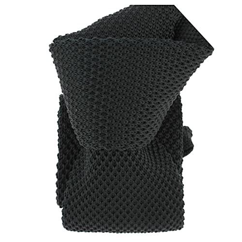 Clj Charles Le Jeune. Cravate tricot. Dandy Farmer, Microfibre. Noir, Uni.