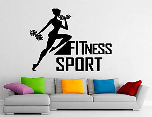 Tianpengyuanshuai Fitness Sport Vinyl Wandtattoo Frau Bodybuilding Gym Kunst Wandaufkleber Dekorative Wandaufkleber -66X50cm