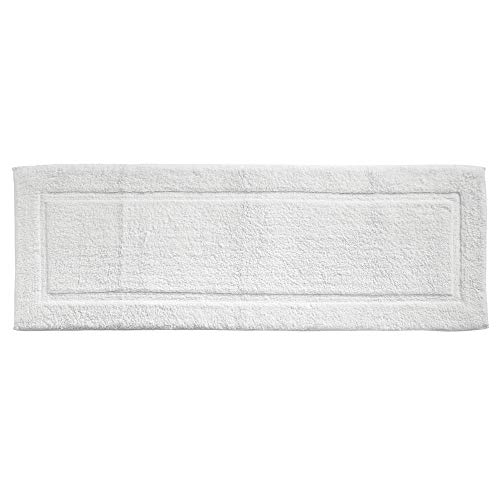 mDesign Soft 100% Cotton Luxury Hotel-Style Rectangular Spa Mat Rug, Plush Water Absorbent, Decorative Border for Bathroom Vanity Bathtub/Shower, Machine Washable Long Runner - White