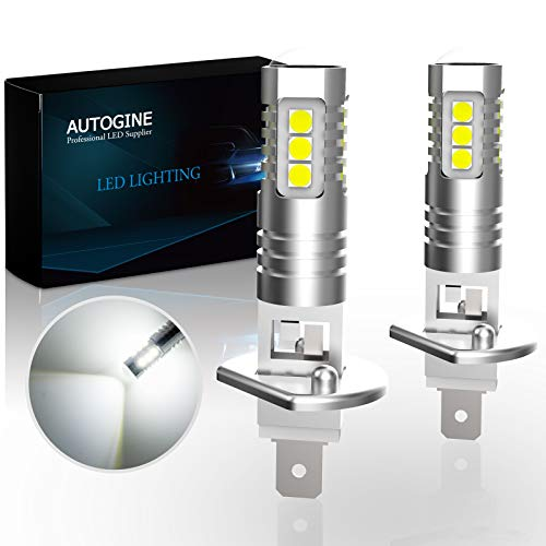 AUTOGINE H1 LED Fog Light Bulbs, 2000 Lumens Extremely Bright 3030-SMD H1 LED Bulbs with Projector for Auto Motorcycle Cars Trucks SUV Fog DRL Lights(6000K Xenon White)