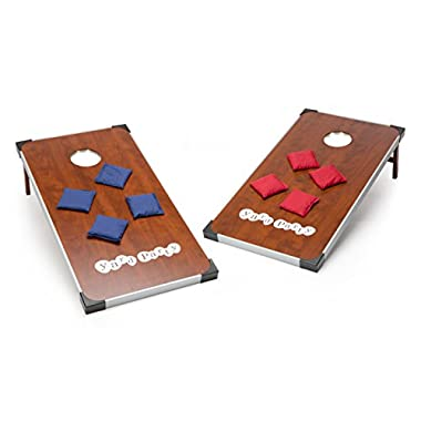 Yard Party Premium Cornhole Set – Regulation Size - Double-Stitched Bags, Aluminum Framed Wood Boards with Carrying Bag (LED)