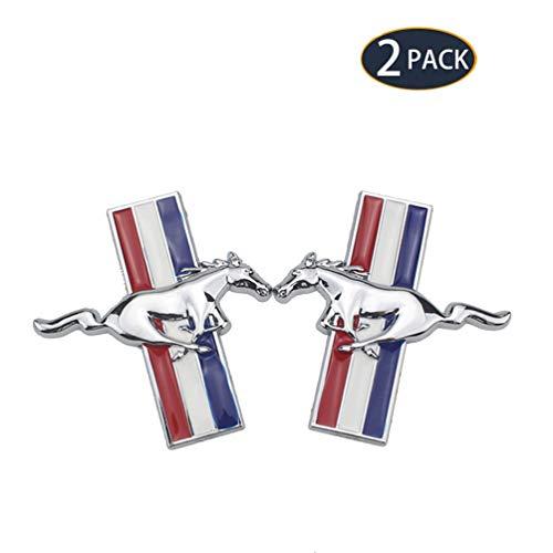 UFFD 2er Pack Auto Dekoratives Logo - Auto Kühlergrill Refit Zubehör Aufkleber Körperdekoration, Galvanisiertes Logo für Ford Mustang,Silber