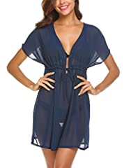 Material: 100% Polyester. Sexy women's chiffon coverup swimsuit, lightweight and skin-friendly, your must-have piece of outfit in the wardrobe. This little delicate coverup comes with full coverage on the back, 1/5 short sleeve with a sexy V neck dow...