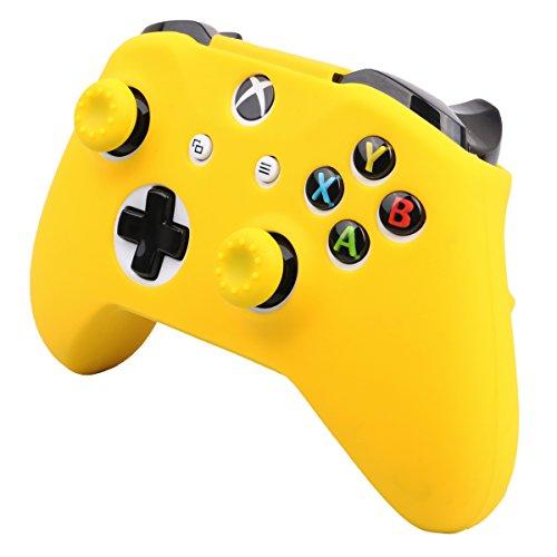 Pandaren® cubierta de silicona Fundas protectores antideslizante Solamente para Xbox One S, Xbox One X Mando x 1 (amarillo) + Thumb grips x 2