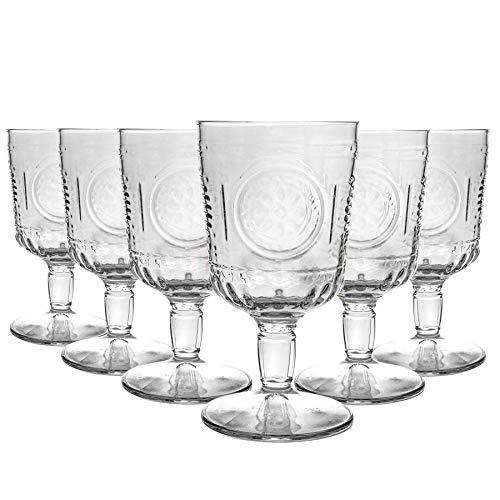 Bormioli Rocco copas de vino romántico ambientado - Cut italianos copas de cristal de la vendimia para Rojo Vino Blanco - 320ml - Pack de 6