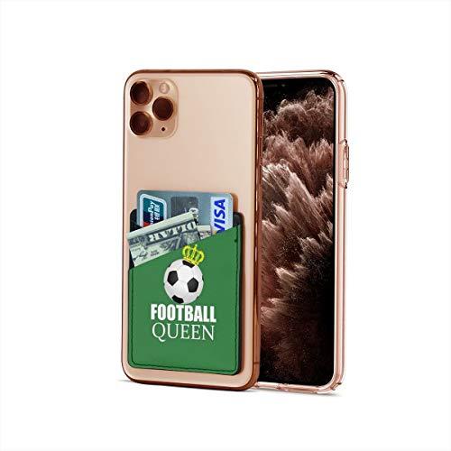Bolsillo para tarjetas de crédito, ultradelgado con fondo verde de fútbol para iPhone y Android, funda para tarjetas de visita, tarjetero y clip para dinero